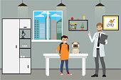 Veterinary Clinic ,cartoon male doctor and teenage with sad dog, cartoon vector illustration