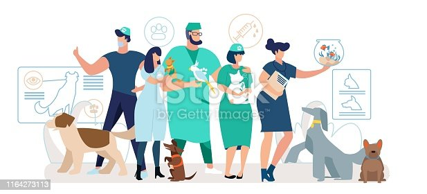 Veterinary Clinic Medical Personnel Flat Vector