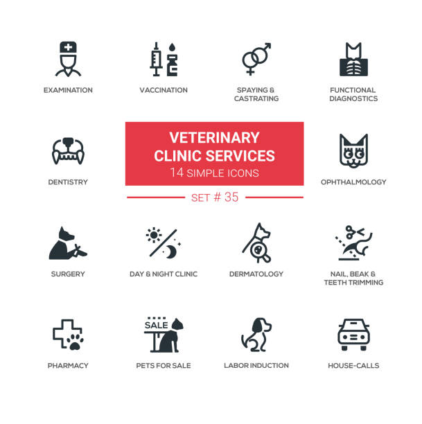 stockillustraties, clipart, cartoons en iconen met veterinaire kliniek diensten - moderne eenvoudige pictogrammen, pictogrammen set - dierenziekenhuis