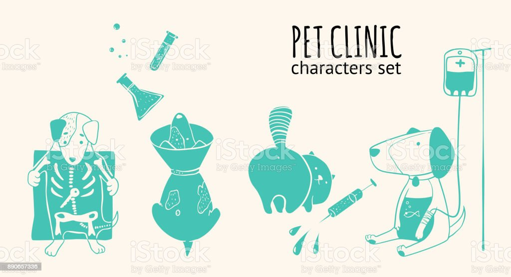 Veterinary clinic vector characters set vector art illustration