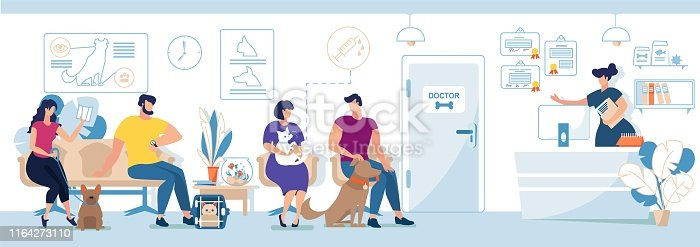 istock Veterinary Clinic Visitors with Pets Flat Vector 1164273110