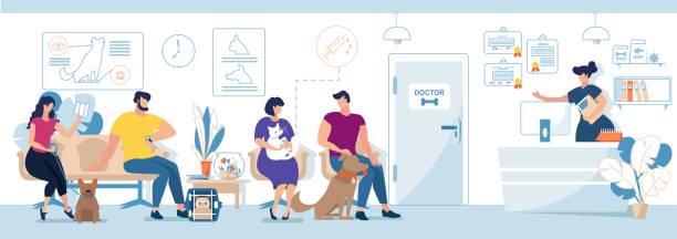 bildbanksillustrationer, clip art samt tecknat material och ikoner med veterinärklinik besökare med husdjur flat vector - djursjukhus