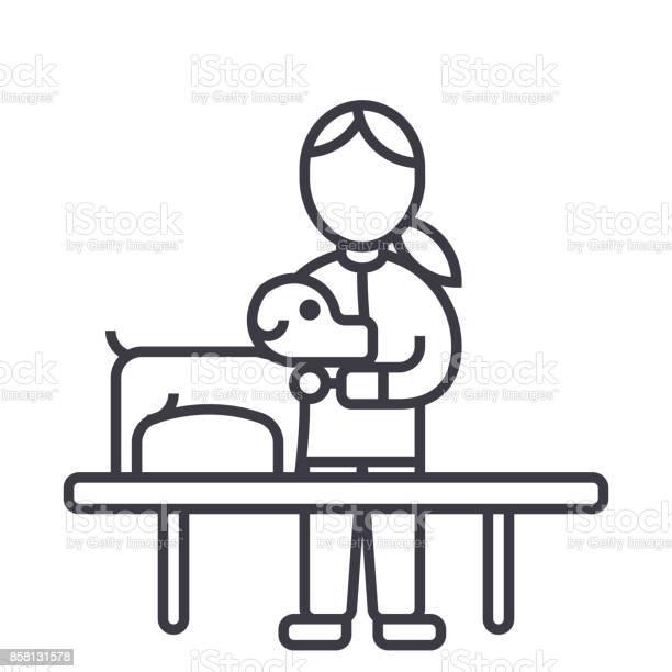 Veterinary clinicdoctor with dog vector line icon sign illustration vector id858131578?b=1&k=6&m=858131578&s=612x612&h=cdgyyj7g5ufbov8vioxb2 pmxld4mvwohtcfcdpotf4=