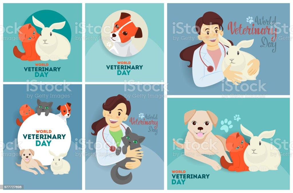 Set de veterinaria del día. - ilustración de arte vectorial