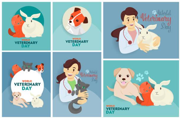 veterinary day set. - veterinarian stock illustrations, clip art, cartoons, & icons