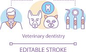 Veterinary dentistry concept icon. Professional therapy for animal teeth. Pet care. Dental treatment of cats and dogs idea thin line illustration. Vector isolated outline drawing. Editable stroke