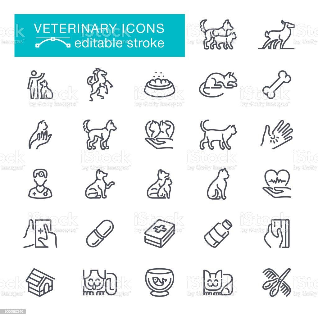 Veterinary Editable Stroke Icons