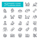 Pets, Animal, Fish, Puppy, Medical Equipment, Editable Stroke Icon Set