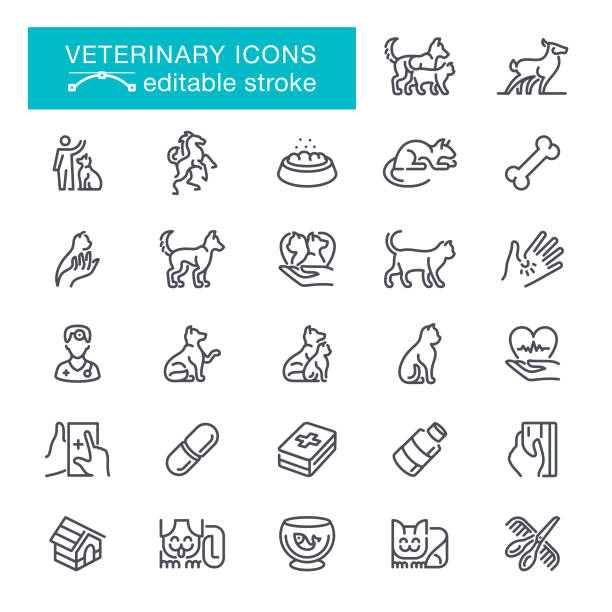 veterinary editable stroke icons - pets stock illustrations, clip art, cartoons, & icons