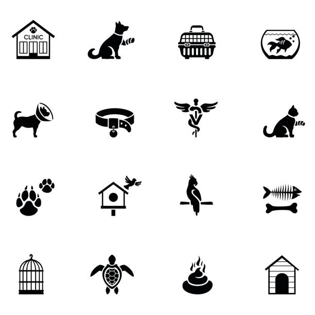 stockillustraties, clipart, cartoons en iconen met veterinaire icon set - dierenziekenhuis