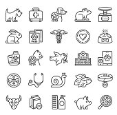 Pet Care Icons with cat, rat,dog and hospital symbols