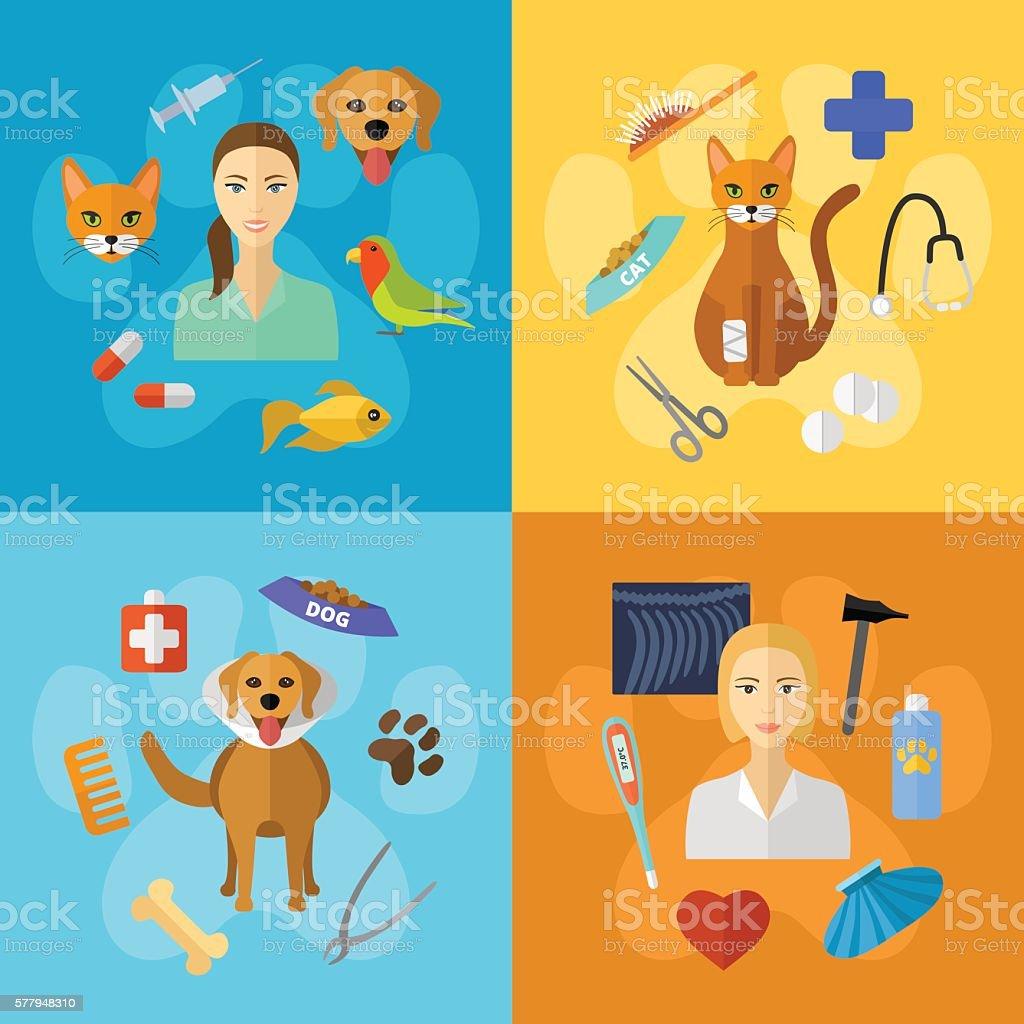 Veterinary icons. vector art illustration