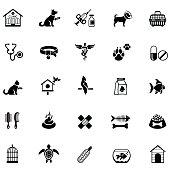Black veterinary icon set