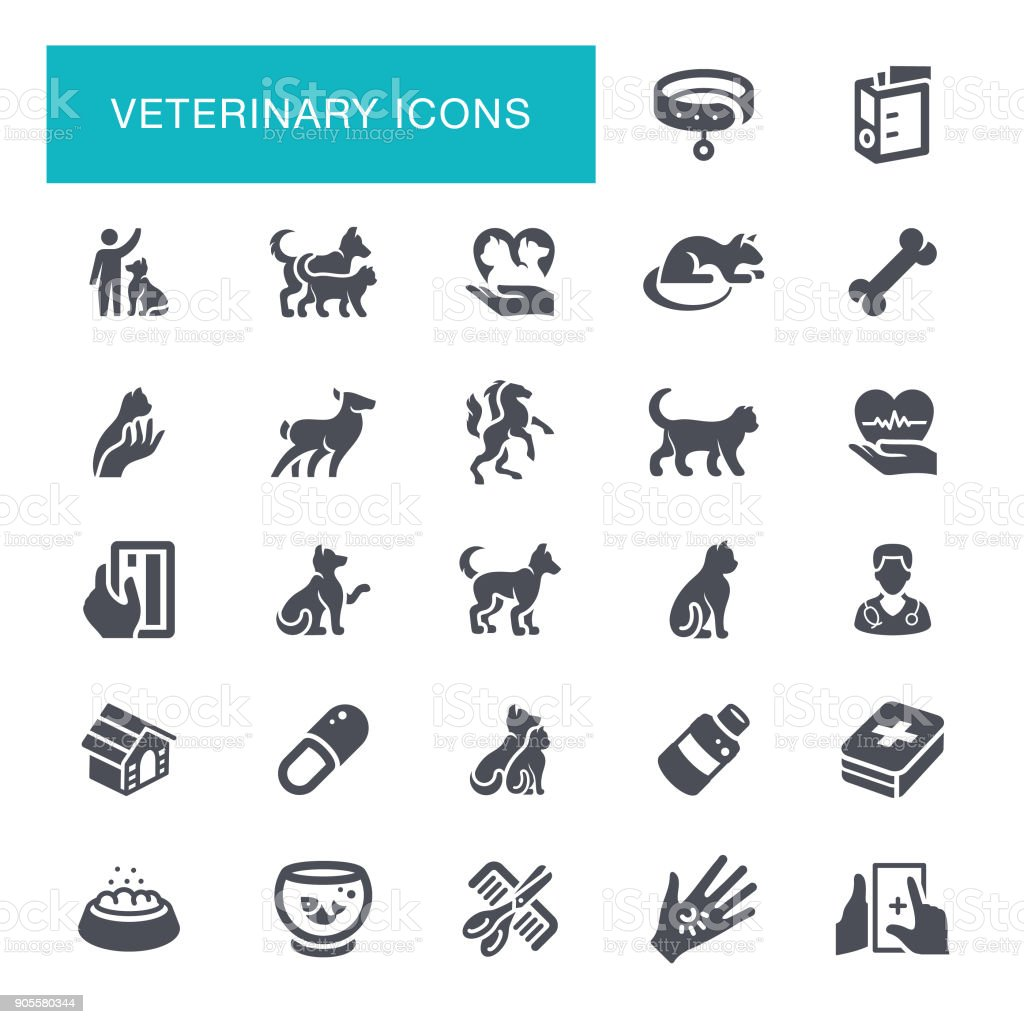 Veterinary Icons vector art illustration