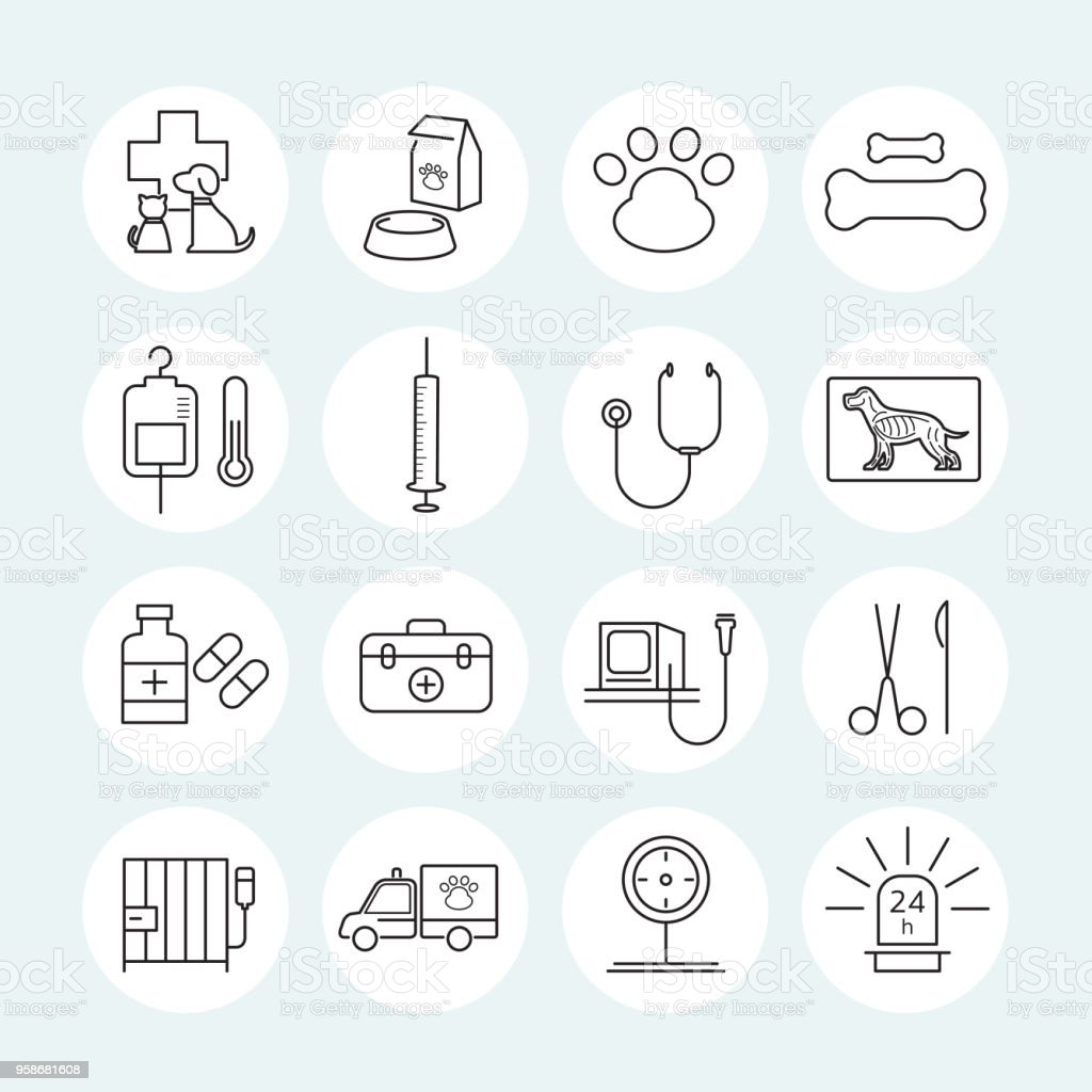Conjunto de iconos de línea veterinaria - ilustración de arte vectorial
