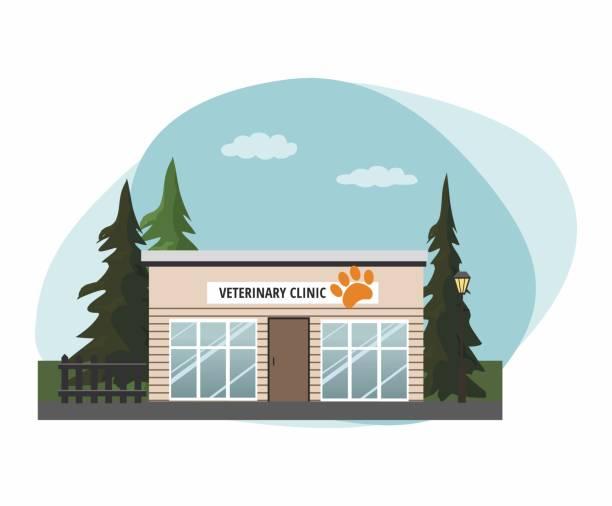ilustrações, clipart, desenhos animados e ícones de medicina veterinária hospital, clínica ou pet shop para animais. vista exterior da fachada. - consultório médico