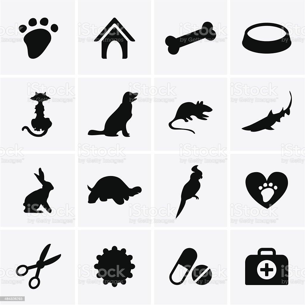 Veterinary Pet Icons vector art illustration