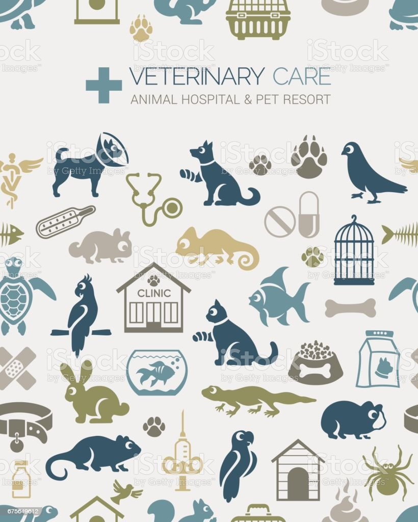 Veterinary Seamless Pattern royalty-free veterinary seamless pattern stock vector art & more images of animal