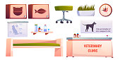 Veterinary vet clinic furniture and stuff set isolated on white background. Reception desk, couch, shelf for medicine, chair, clock. Animals hospital banners, pets medicine Cartoon vector illustration