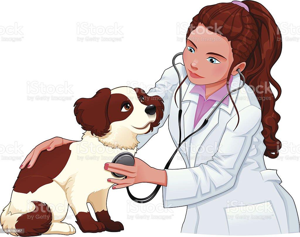 Veterinary with dog. royalty-free stock vector art