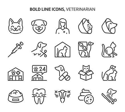 Veterinerian, bold line icons