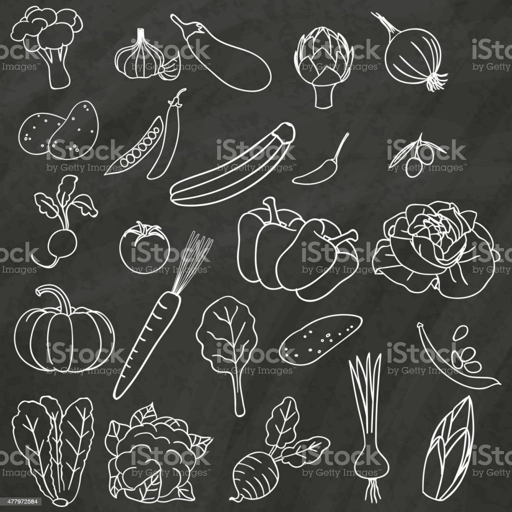 vetgettable on chalkboard vector art illustration