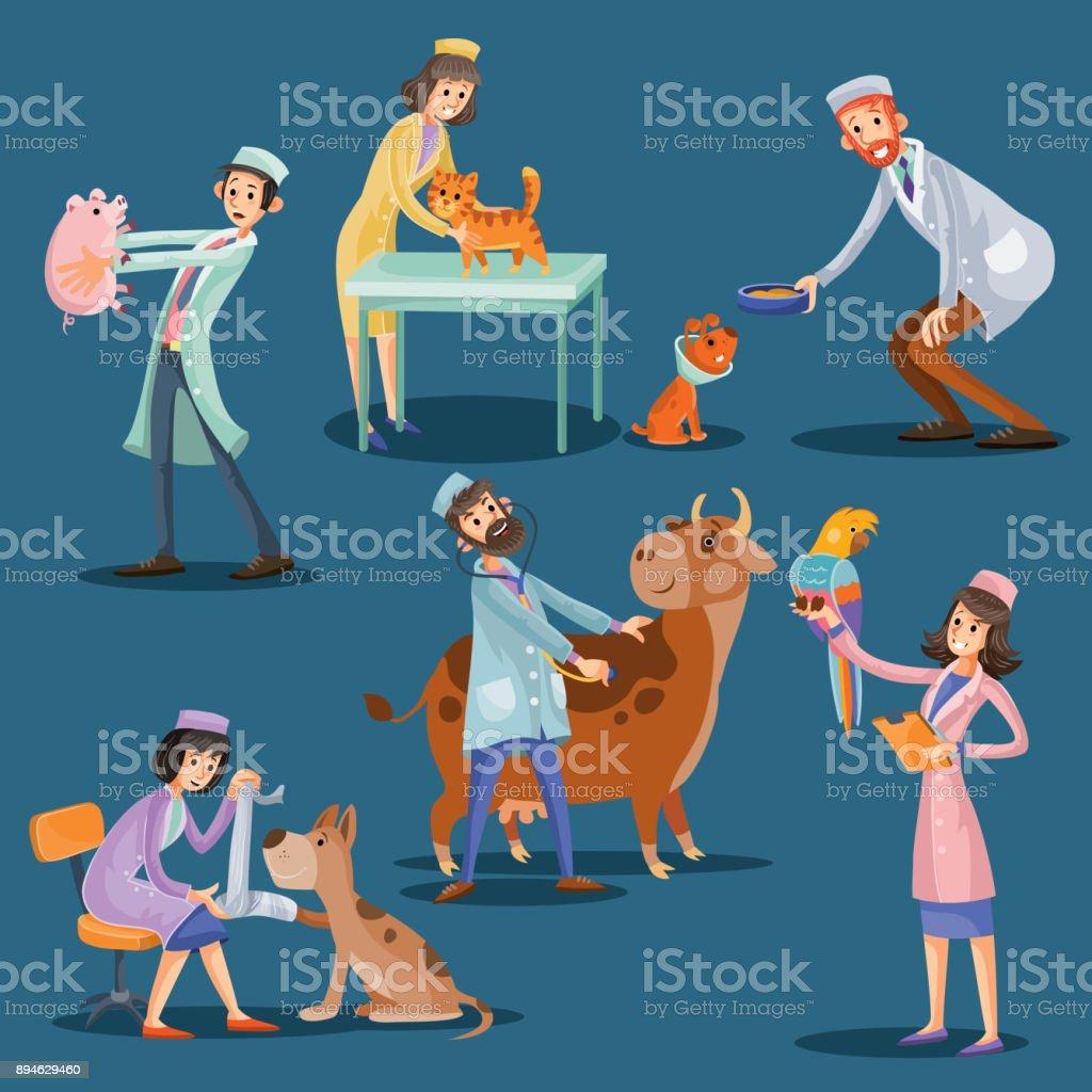 Vector ilustración de dibujos animados de veterinarios con mascotas lindos - ilustración de arte vectorial