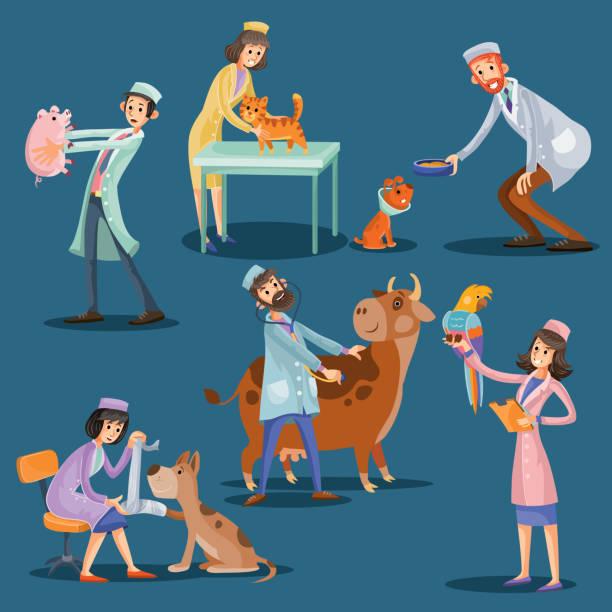 vets with cute pets cartoon vector illustration - veterinarian stock illustrations, clip art, cartoons, & icons