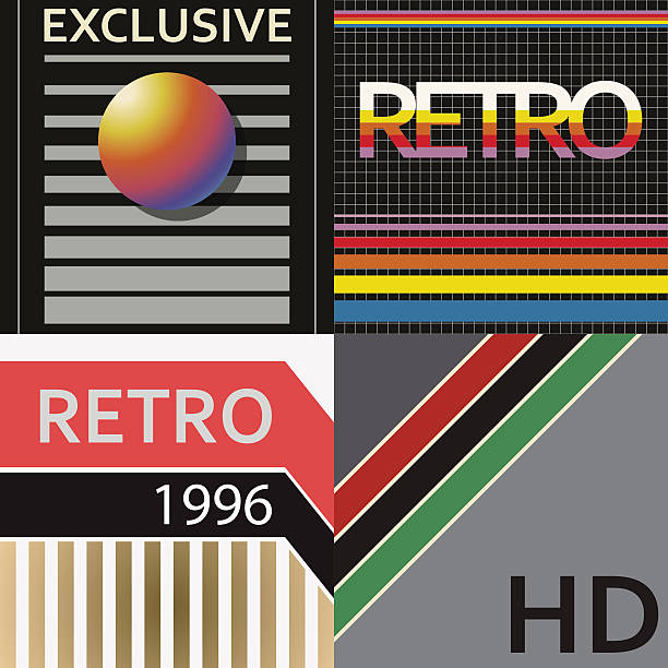 vhs cover style - 1990s style stock illustrations
