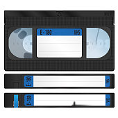istock vhs video cassettes with the upper and side sides. realistic vector design. a torn sticker on one of the cassettes 1322816593