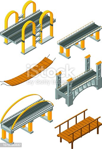 Viaduct bridge isometric. Wood support crossing river or highway logging industry vector urban landscape. 3d bridge and viaduct isometric, 3d building construction for road illustration