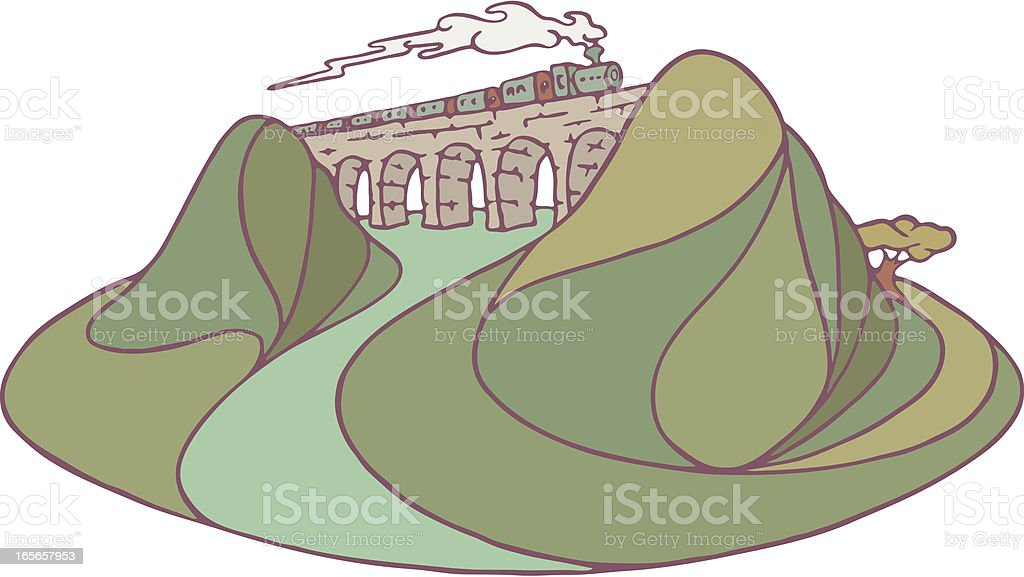 Viaduct or Aquaduct. vector art illustration