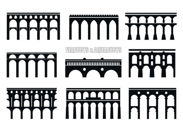 Viaducts, aqueducts, rail and multilevel arched bridges. Set of bridge silhouettes. Viaducts, aqueducts, rail and multilevel arched bridges. Concept for icon, icon. railway bridge stock illustrations