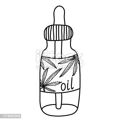 istock Vial of hemp or CBD oil sketch doodle style. 1278562946
