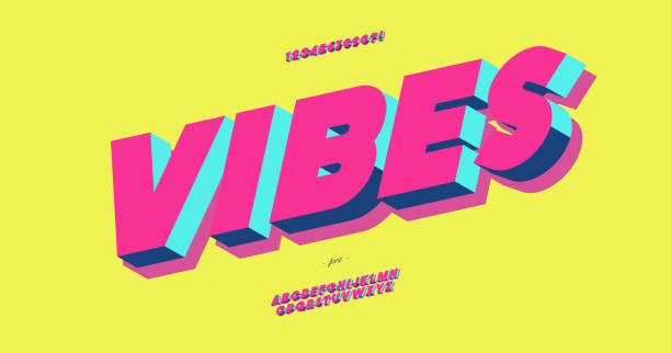 Vibes 3d bold typeface colorful style Vibes 3d bold typeface colorful style trendy typography for decoration, logo, party poster, t shirt, book, card, sale banner, printing on fabric, stamp. Cool alphabet. Modern font. Vector 10 eps cool attitude stock illustrations
