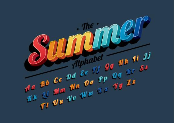 vibrant alphabet - happy holidays stock illustrations