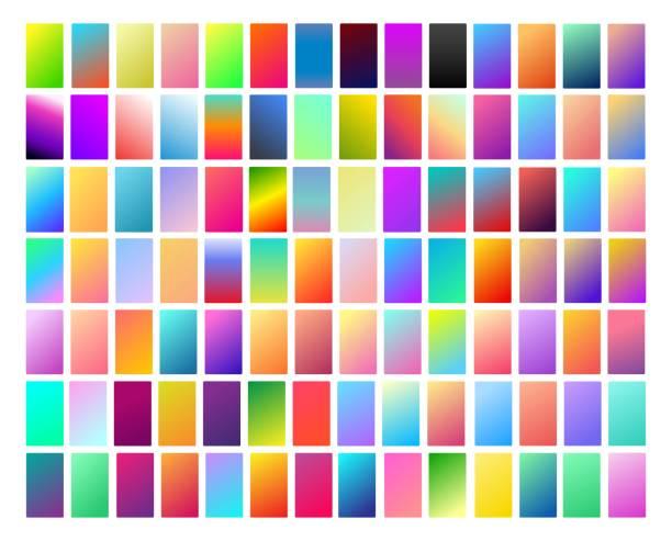 98 活気に満ちたと現代のスマート フォンと pc のデバイスの滑らかな光のグラデーション コレクション ソフト色パレット画面背景設定ベクトル ux と ui 設計図 - カラーグラデーション点のイラスト素材/クリップアート素材/マンガ素材/アイコン素材