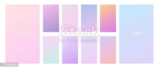 Vibrant and smooth pastel gradient soft colors set for devices, pc and modern smartphone screen backgrounds set vector ux and ui design illustration