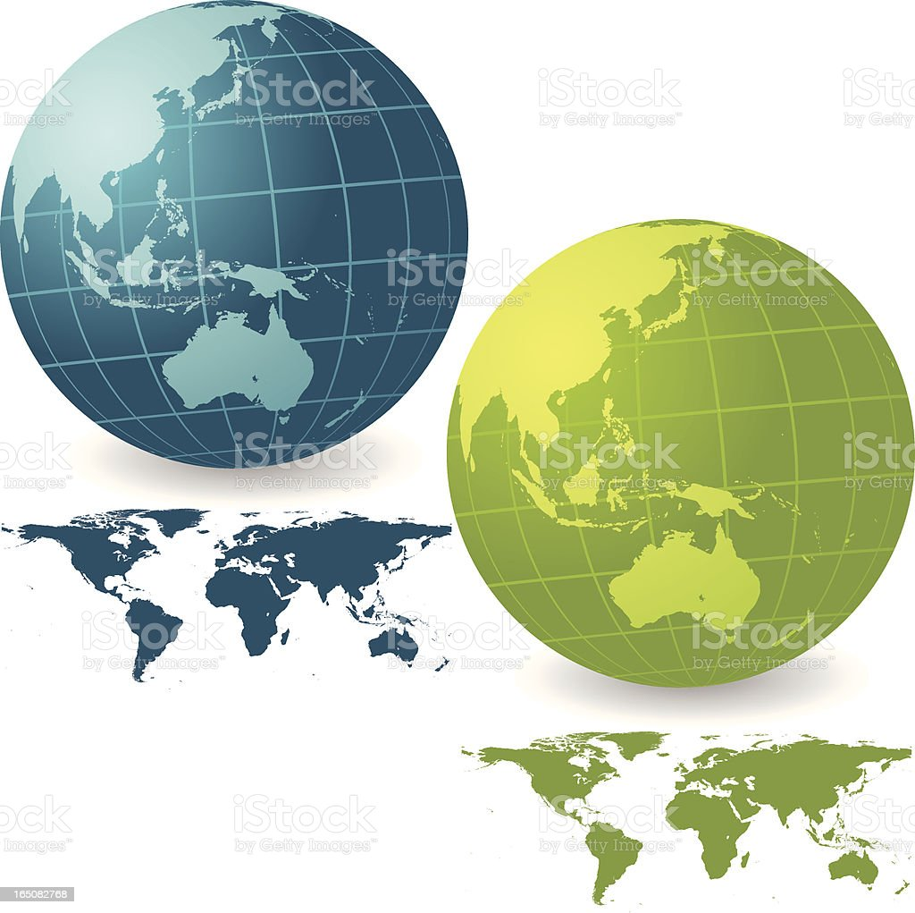 Vibrant Asia and Australia Globe Set with Map royalty-free stock vector art