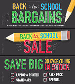Vector illustration of a Back to School themed banner design template. Set of three horizontal banner designs. Hand drawn elements. Includes sample text designs 'Back to School sale', 'Save Big', pencil, and chalkboard background with texture. Green, blue, orange and red color palette. Separate layers in Illustrator file for easy editing and customization.