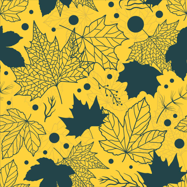 Vibrant Beautiful floral leaves seamless pattern, hand drawn maple leaves, creative line art background, great for fall seasonal fabric fashion prints, autumn banners, wallpapers vector surface design vector art illustration