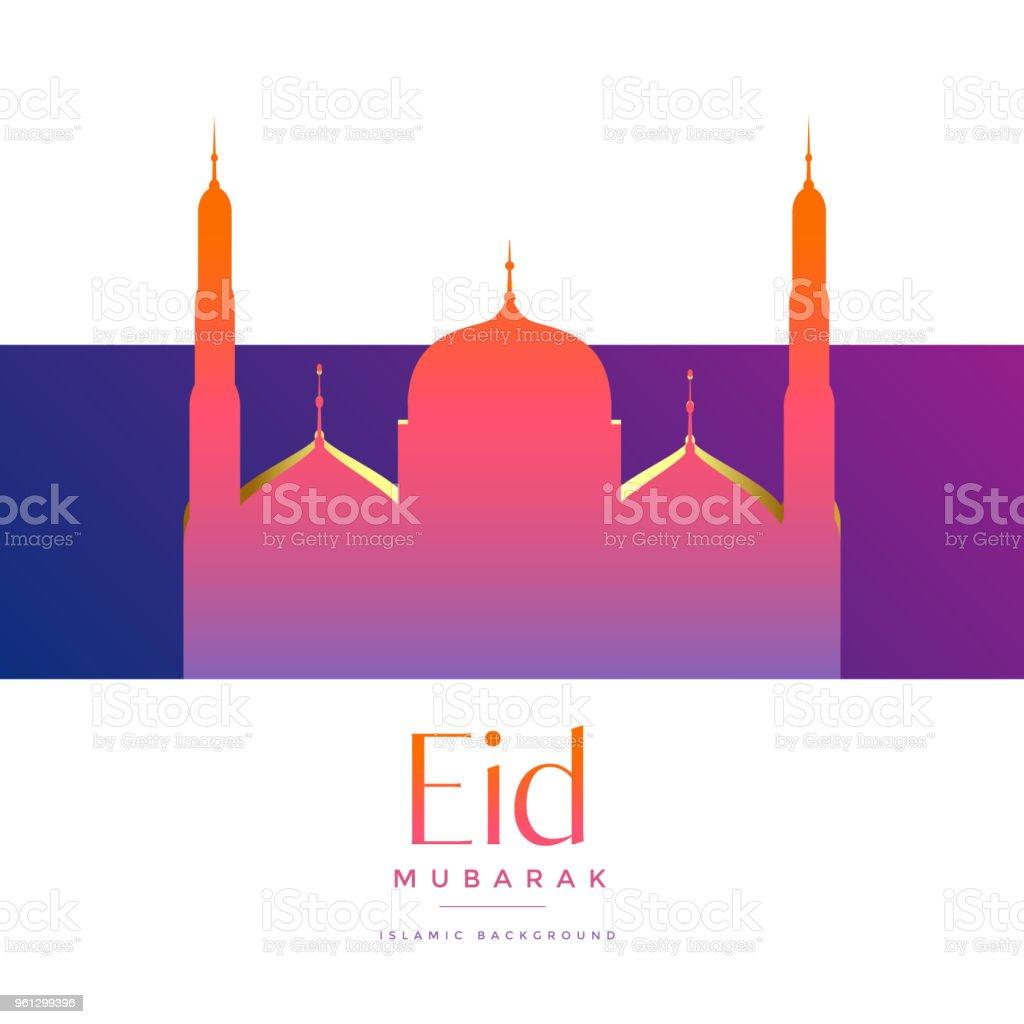 vibrant beautiful mosque for eid mubarak festival vector art illustration