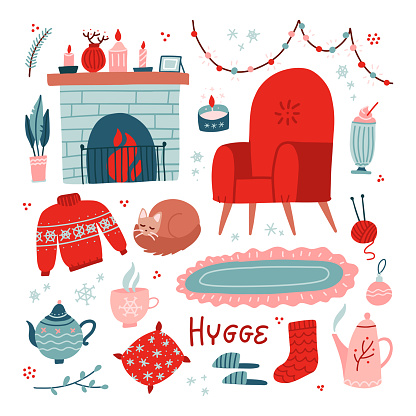 Vibrant Collection of hygge Christmas icons. Big set of cozy and warm elements - armchair, fireplace and teapot. Vector flat hand drawn illustration for greeting cards, posters, and seasonal design.