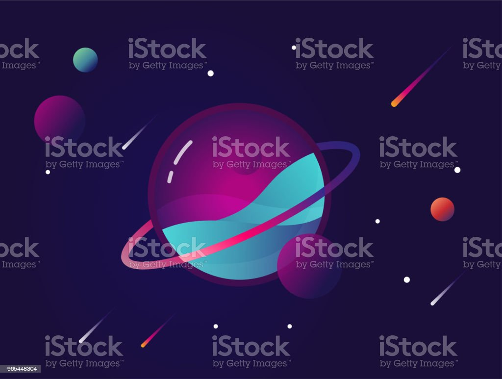 Vibrant colorful planet with stars and speeding comets. Outer space conceptual icon in modern flat material design style royalty-free vibrant colorful planet with stars and speeding comets outer space conceptual icon in modern flat material design style stock vector art & more images of abstract