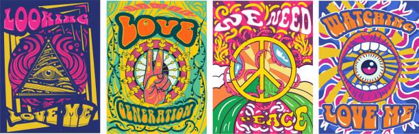 stockillustraties, clipart, cartoons en iconen met levendig kleurrijk we hebben peace design nodig - seventies