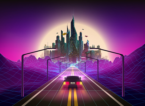 Vibrant colors abstract 80s style retro background with car and Futuristic City on the Horizon. Synthwave Retrowave Art