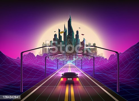 Vector illustration of Car Outrun in Synthwave/Vaporwave vibe 80s art style background with Futuristic city on the Horizon. Synthwave, Retrowave Art. Vector Illustration EPS10.