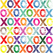 Vibrant Colour XOXO Letter Print Pattern. An original artwork vector illustration of XOXO print pattern. This inspirational flat design can be a postcard, invitation, web banner, shop window, poster or flyer.