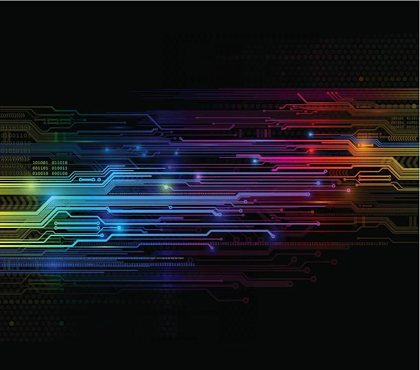 leuchtende digitale ciricuit hintergrund - farbchips stock-grafiken, -clipart, -cartoons und -symbole