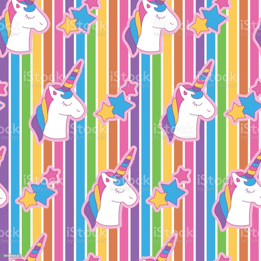 lebendige kantigen einhorn kopf in regenbogen hintergrund lizenzfreies lebendige kantigen einhorn kopf in regenbogenhintergrund stock